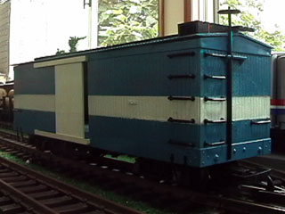 Blue and White Boxcar